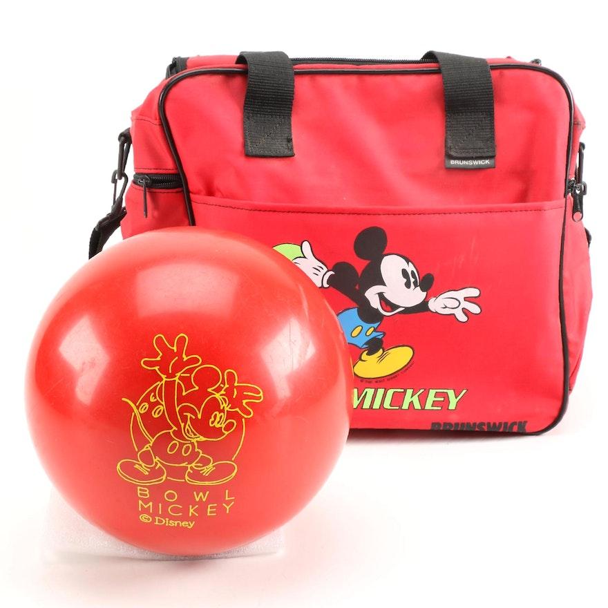 Brunswick Mickey Mouse Bowling Ball and Bag