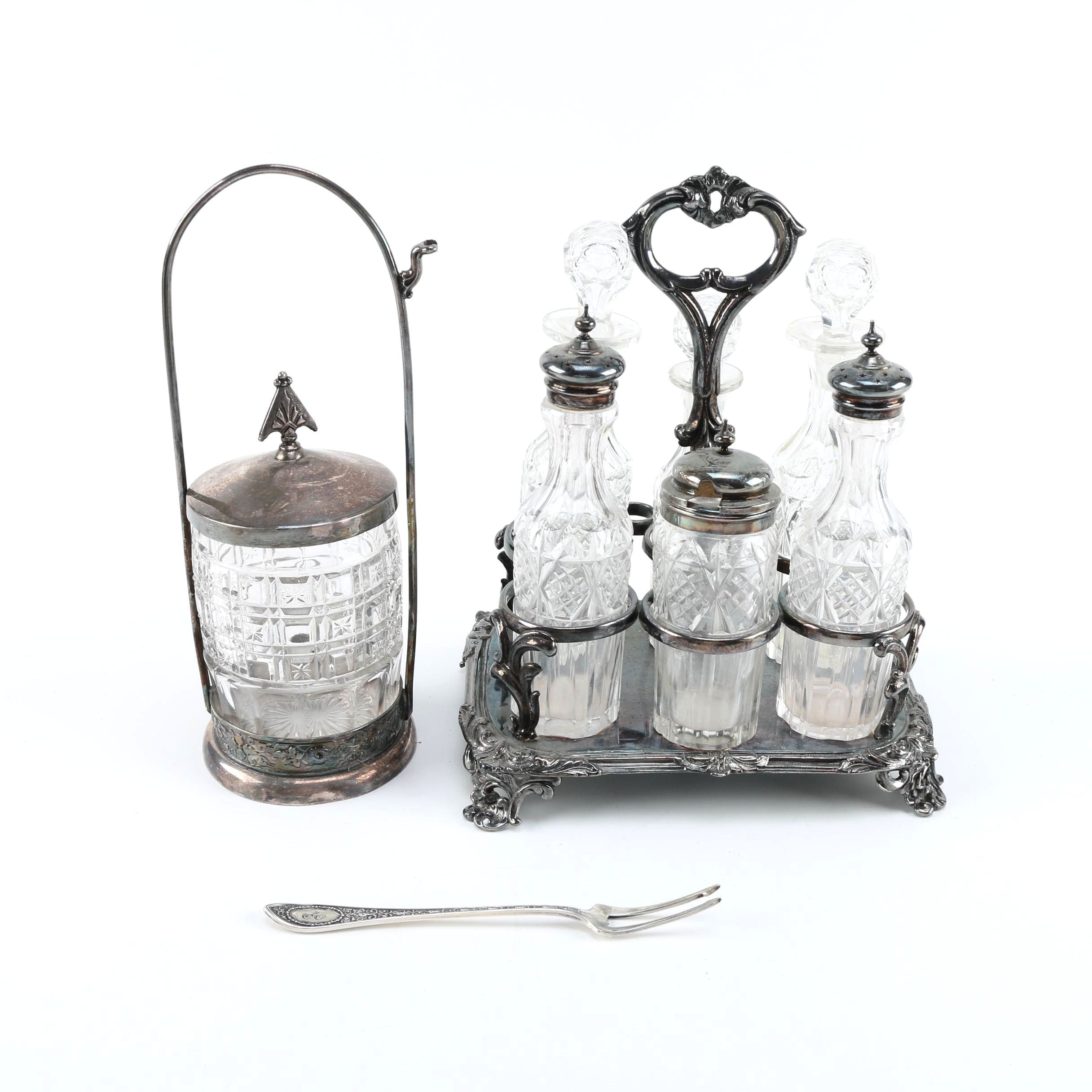 Vintage Silver Plate Cruet Set and Pickle Castor With Sterling Pickle Fork