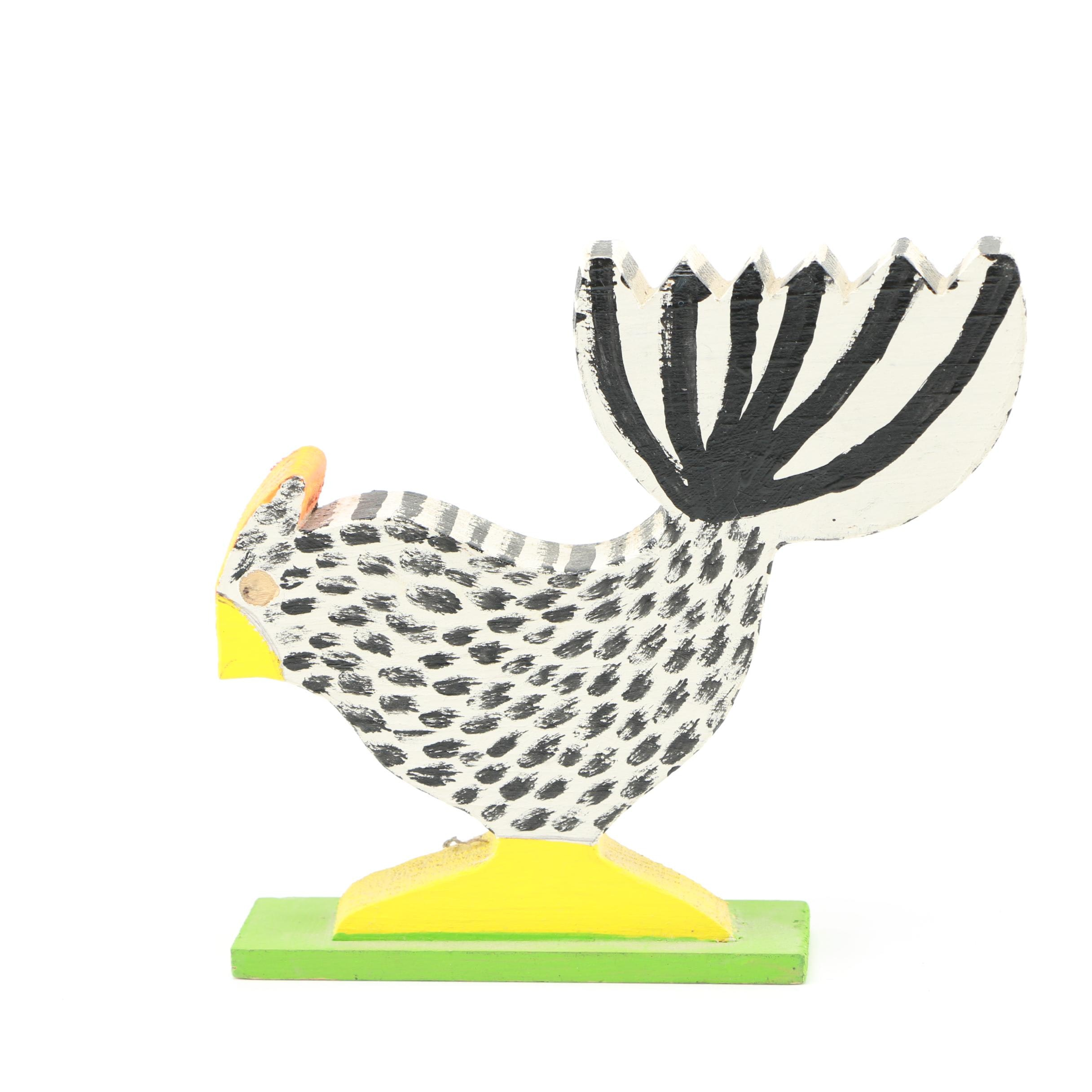 Marvin Finn Painted Wooden Folk Art Sculpture of Rooster