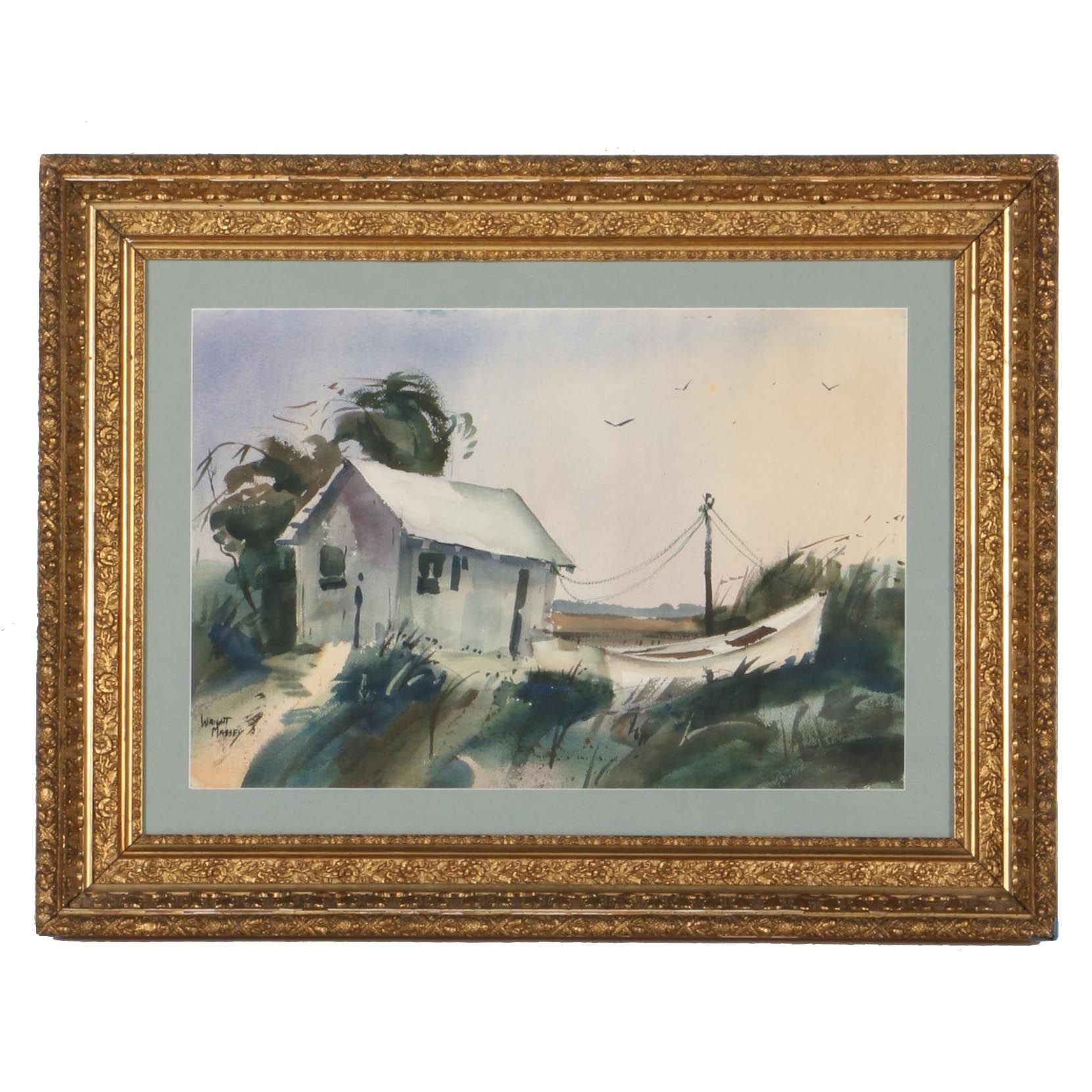 """Wright Massey Watercolor on Paper """"Boathouse With Ship"""""""