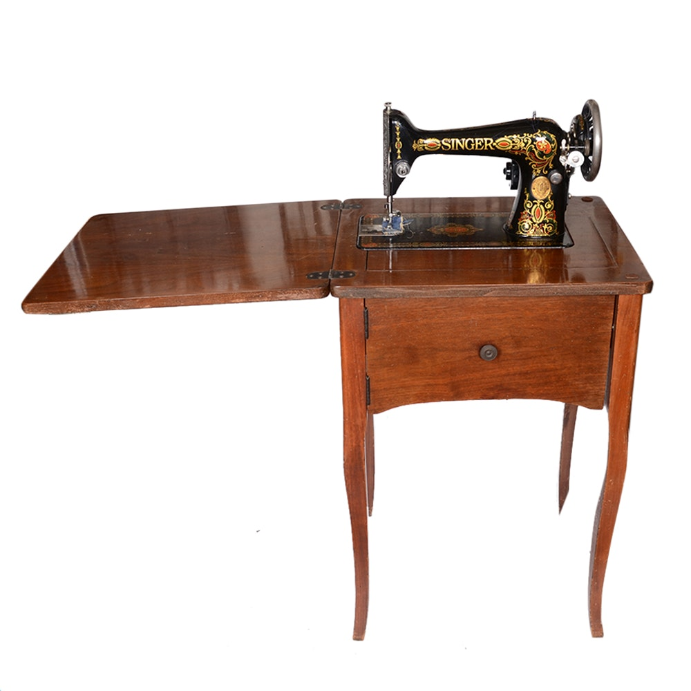 1925 Singer Sewing Machine In Cherry Sewing Cabinet ...