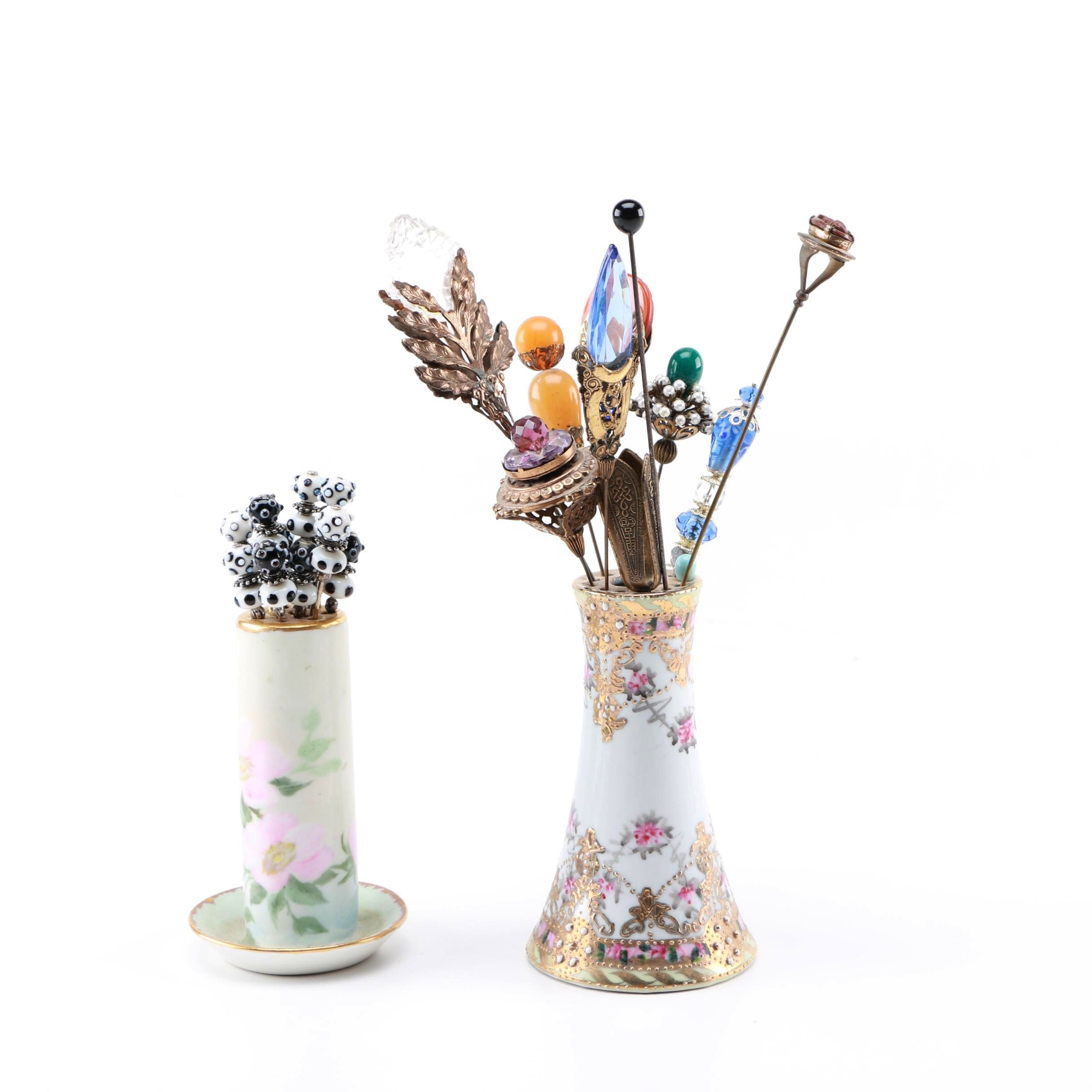 Hair Pins With Ceramic Holders