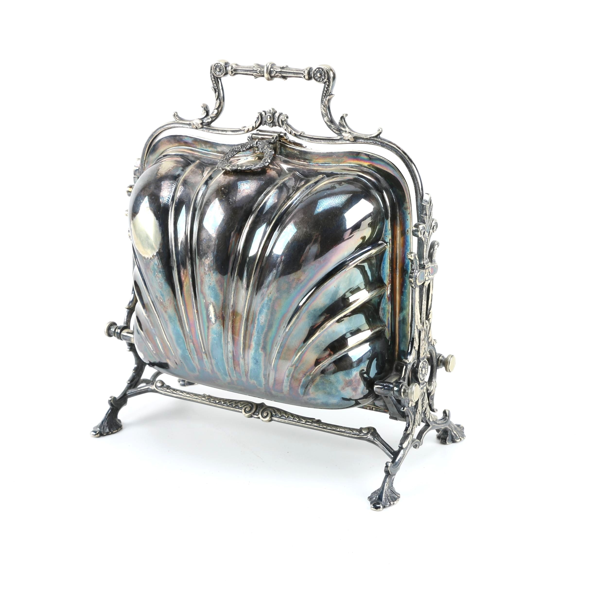 Late 19th Century Fenton Bros English Silver Plated Folding Biscuit Box