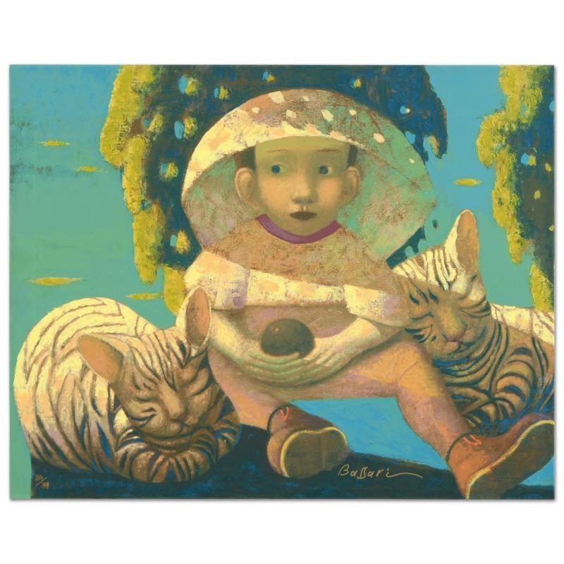 "Sasha Bassari Limited Edition Hand Embellished Serigraph on Canvas ""My Favorite Cats"""