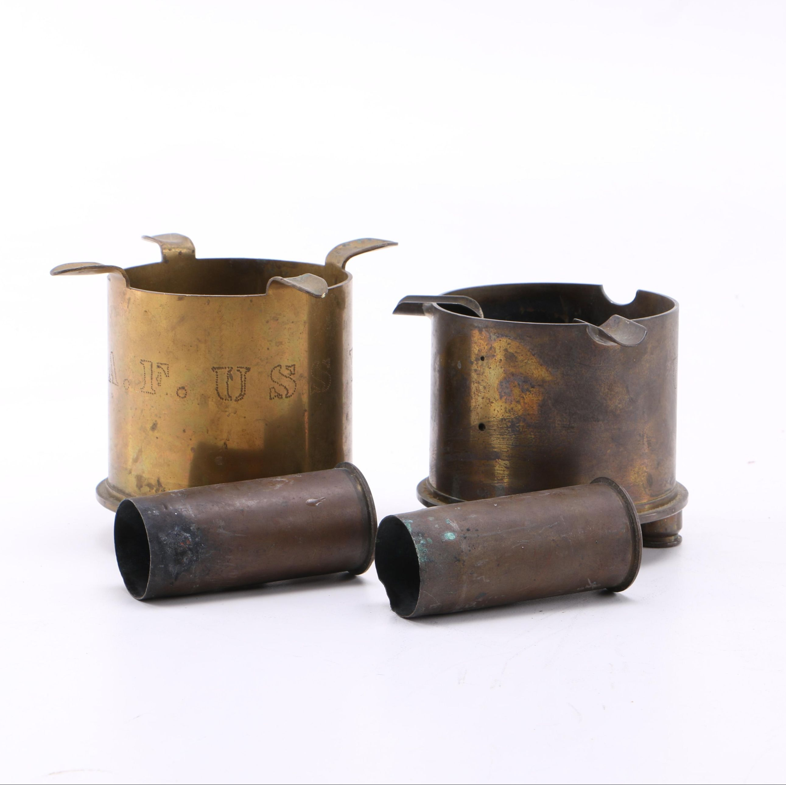 Trench Art Ash Receivers and Shell Casings