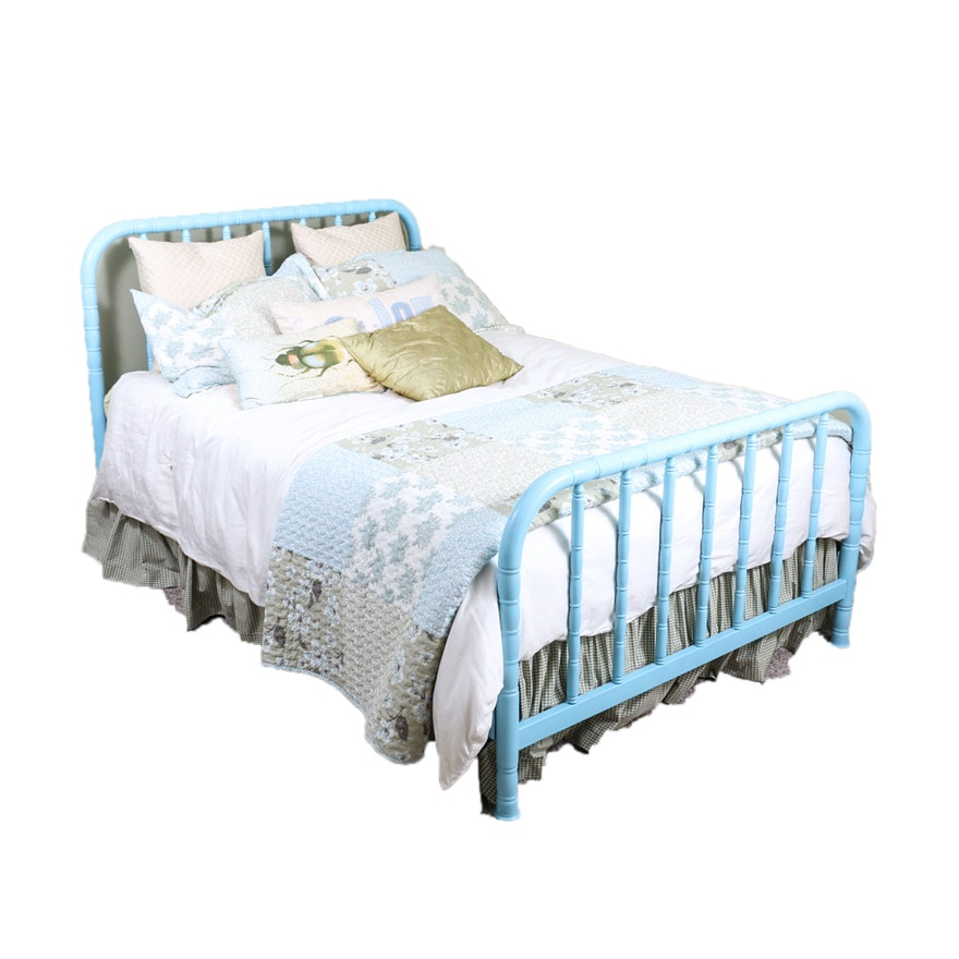 Metal Full Size Bed Frame in Blue Paint : EBTH