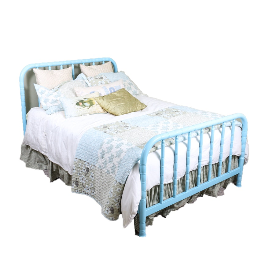 Metal full size bed frame in blue paint ebth for How to paint a metal bed frame