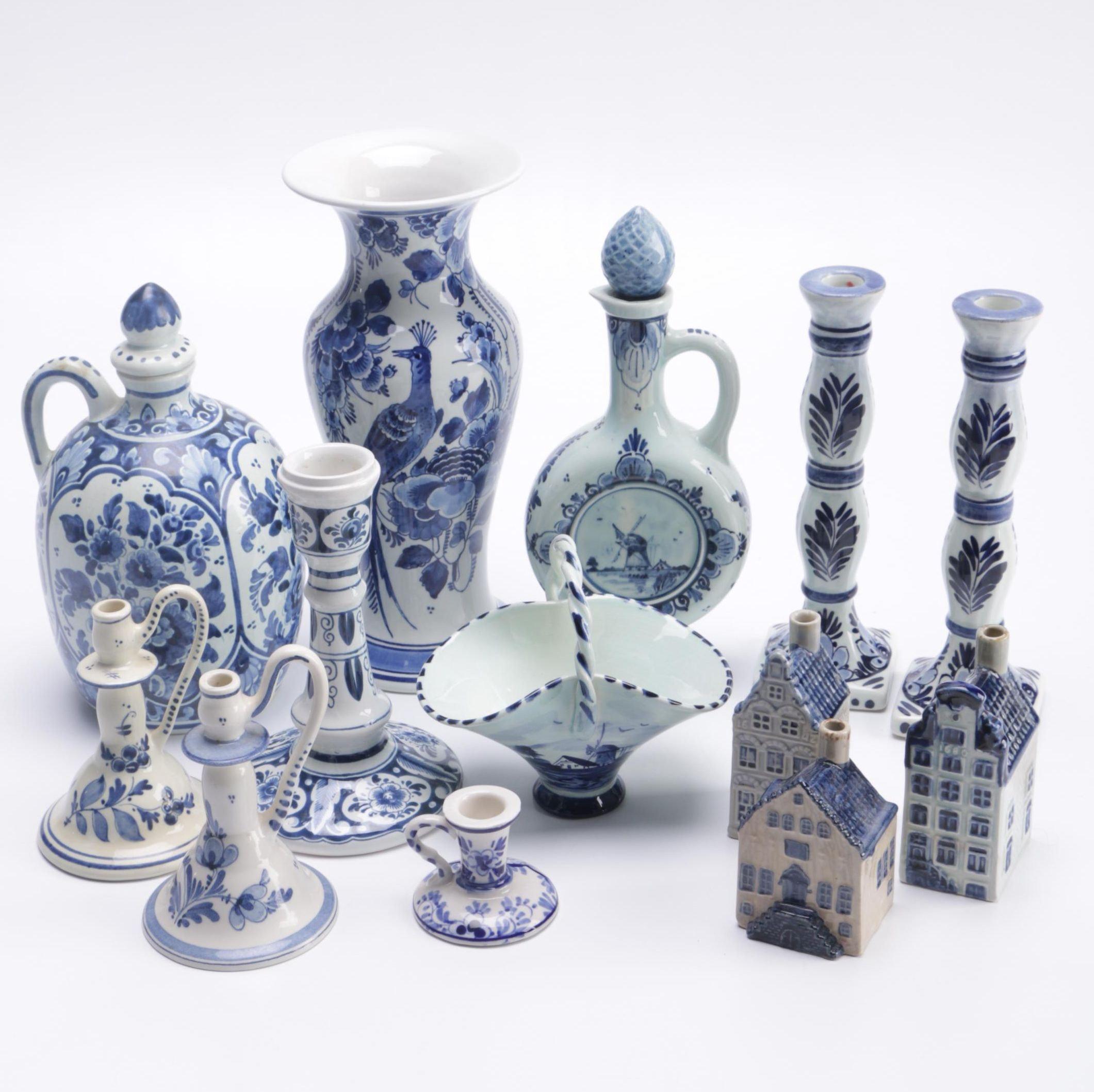 Assortment of Glazed Souvenir Delftware Décor