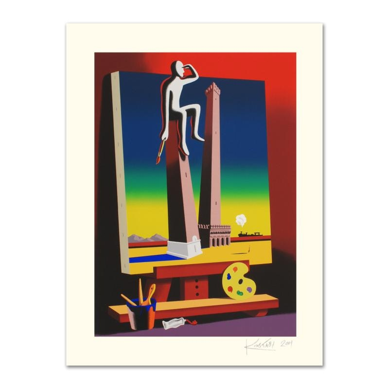 "Mark Kostabi Signed Limited Edition Serigraph ""Loophole with a View"""