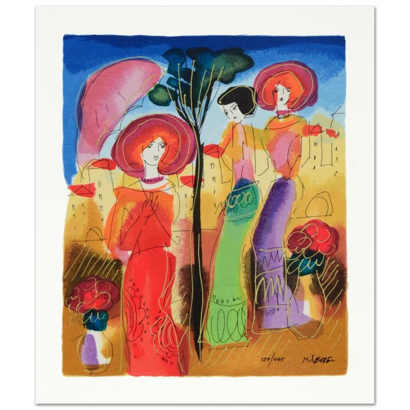"""Moshe Leider Signed Limited Edition Serigraph """"Afternoon Walk"""""""