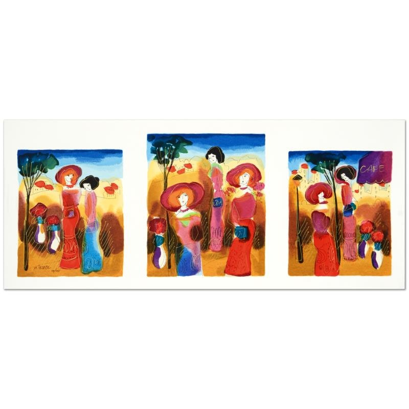 """Moshe Leider Signed Limited Edition Triptych Serigraph """"Promenade"""""""