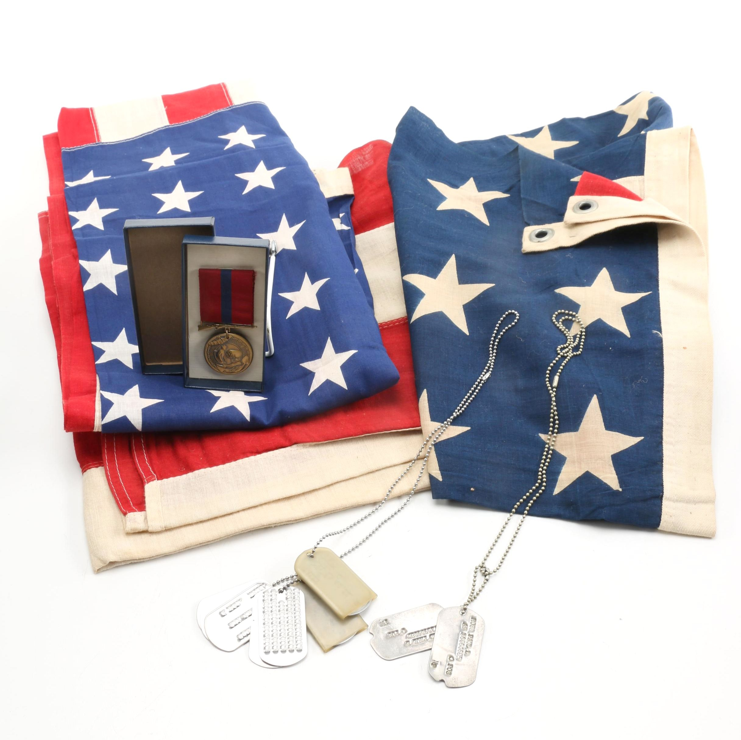 Vintage American Flags and Military Items