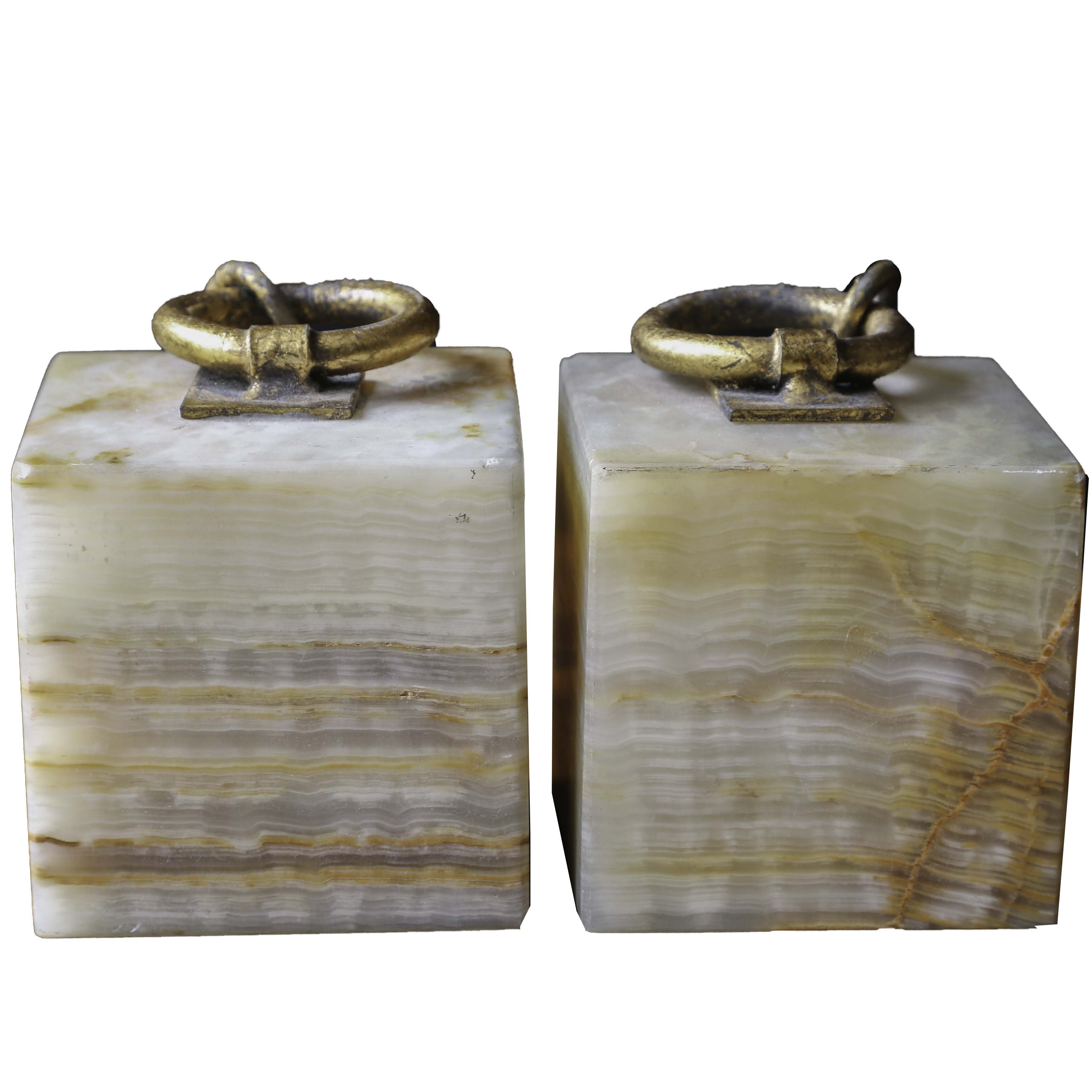 Curtis Jeré Quartz and Bronze Bookends