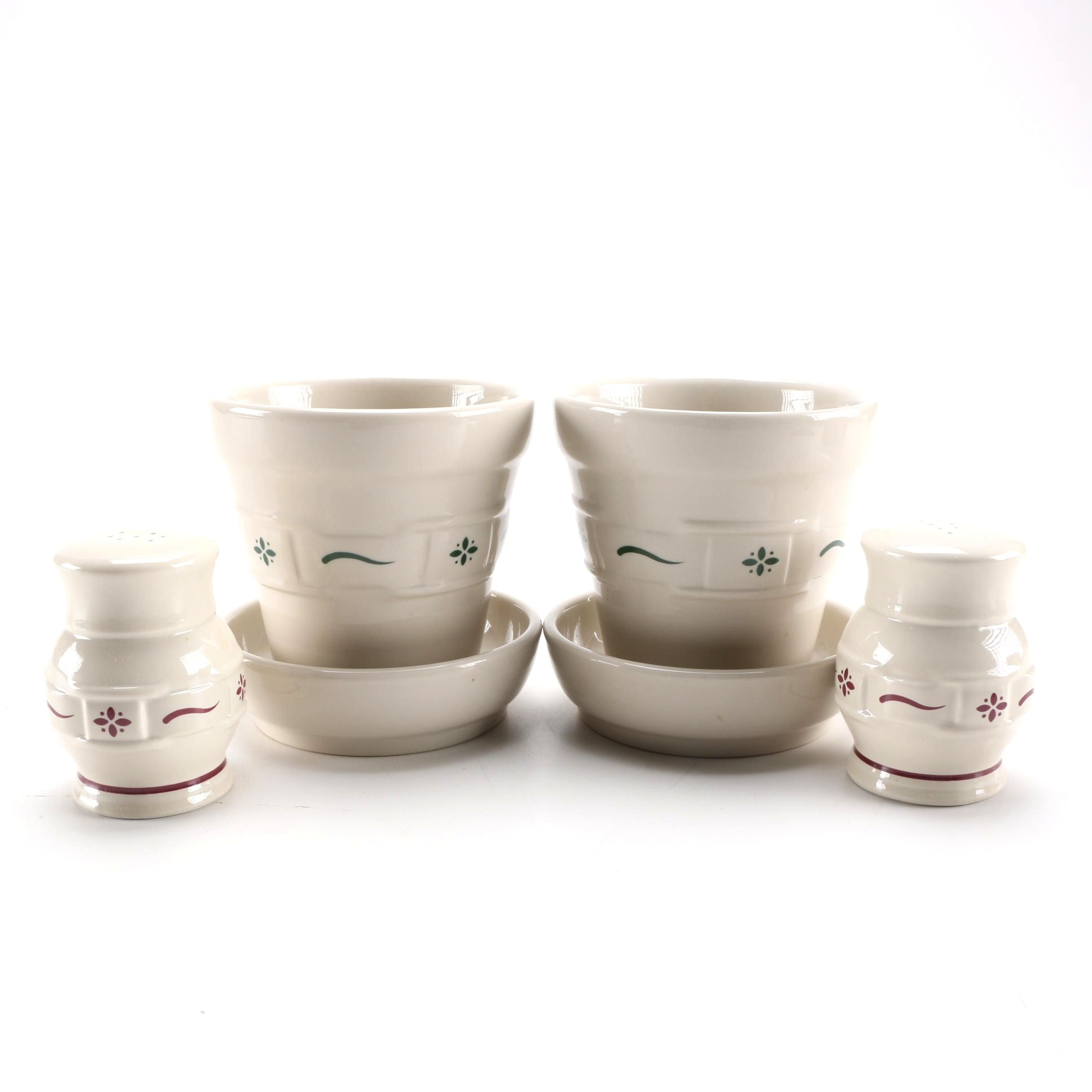 Longaberger Planters and Salt and Pepper Shakers