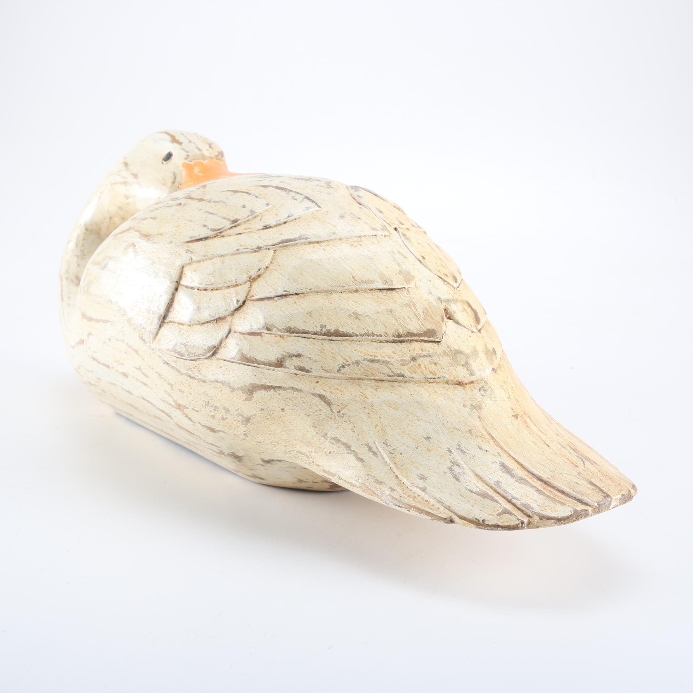 Carved Wooden Folk Art Style Preening Goose