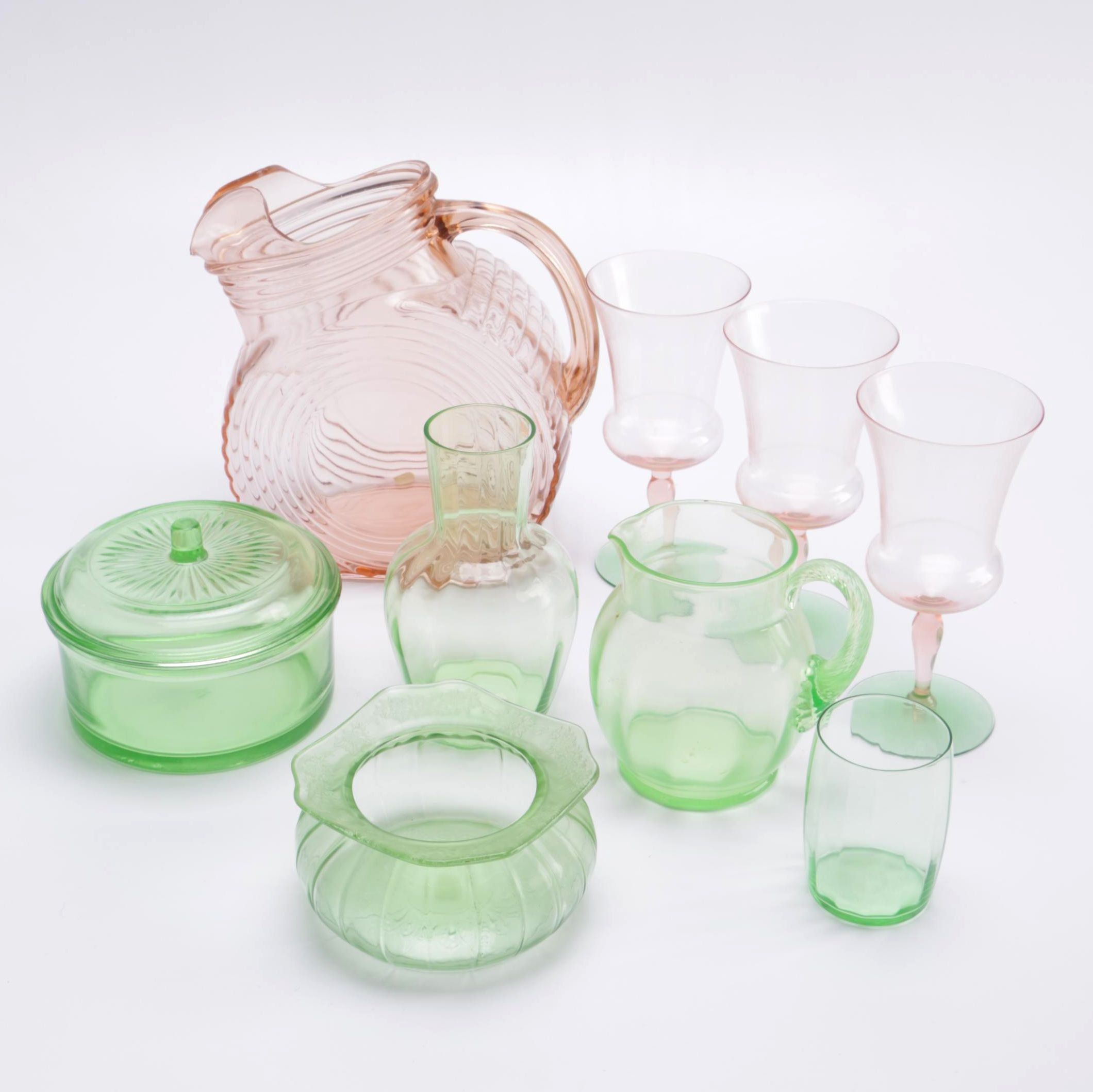 Assortment of Pink and Green Depression Glass