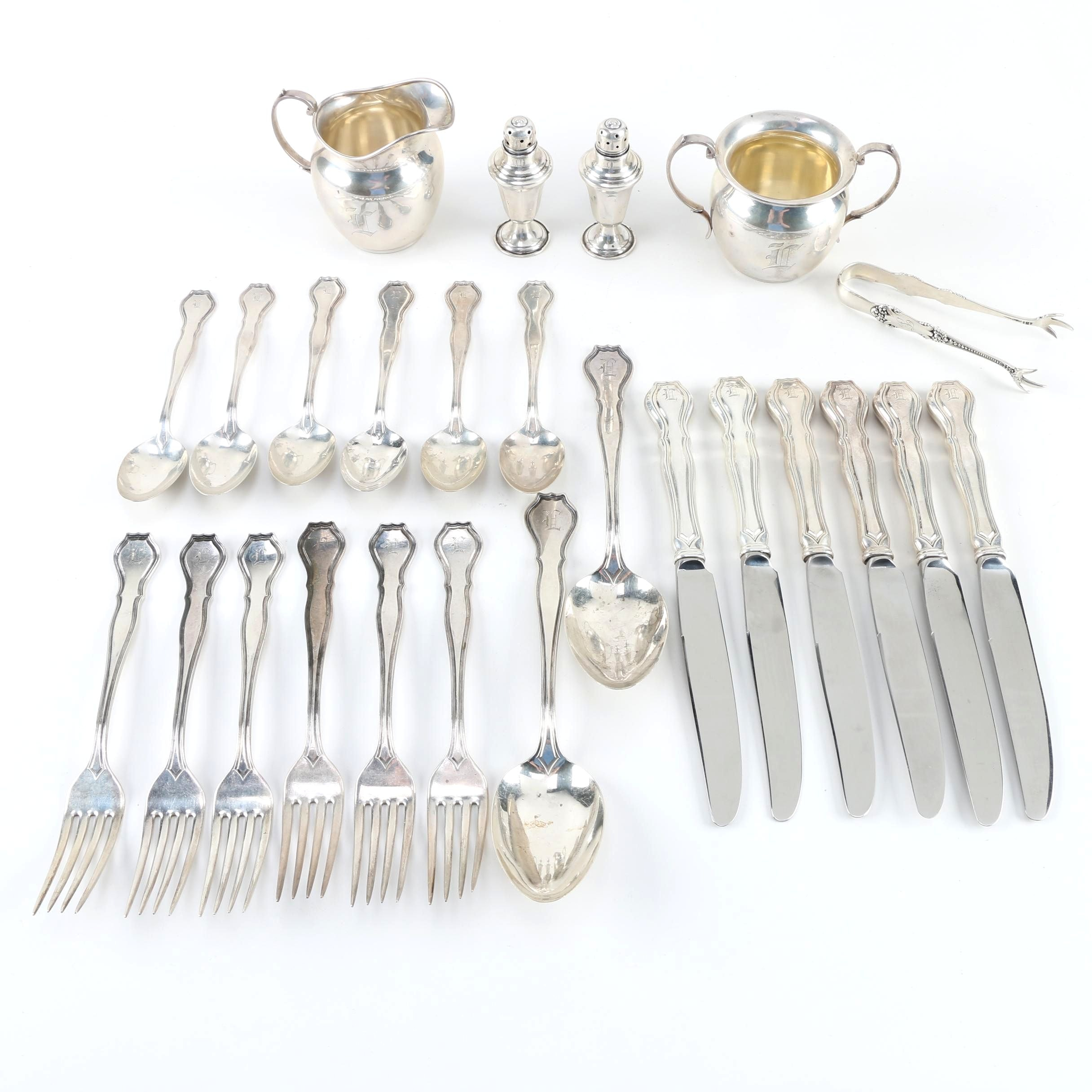 """R. Wallace & Sons """"Nile"""" Sterling Silver Flatware With Other Sterling Tableware"""