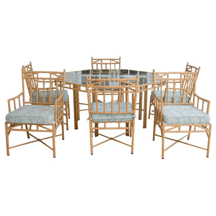 Faux Bamboo Patio Furniture Dining Set