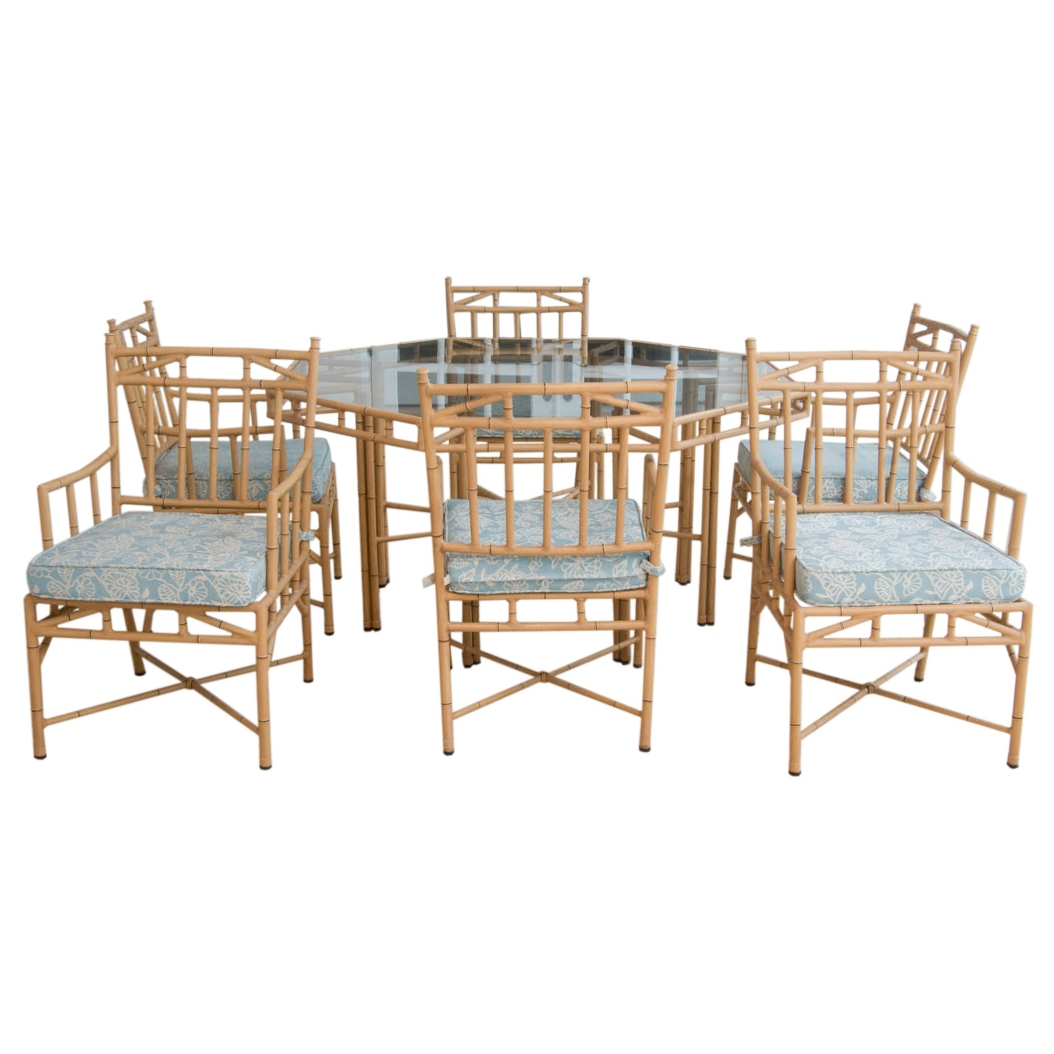 Faux Bamboo Patio Furniture Dining Set ...