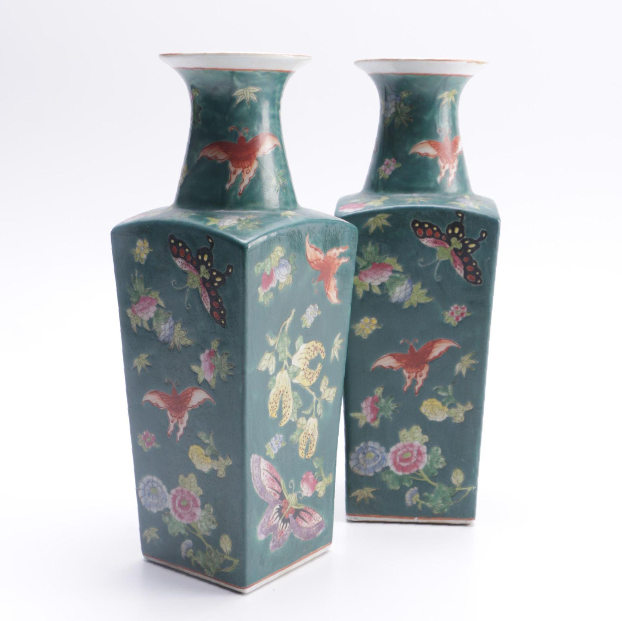 Chinese Green Ceramic Vases