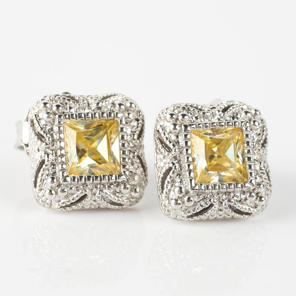 Judith Ripka Sterling Silver Yellow Crystal Earrings with 18K Gold Posts