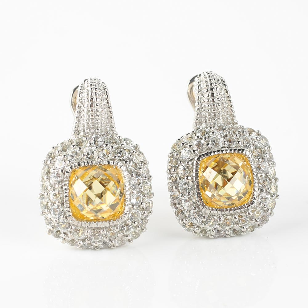Judith Ripka Sterling Silver Yellow Crystal and White Sapphire Earrings with 18K Gold Posts