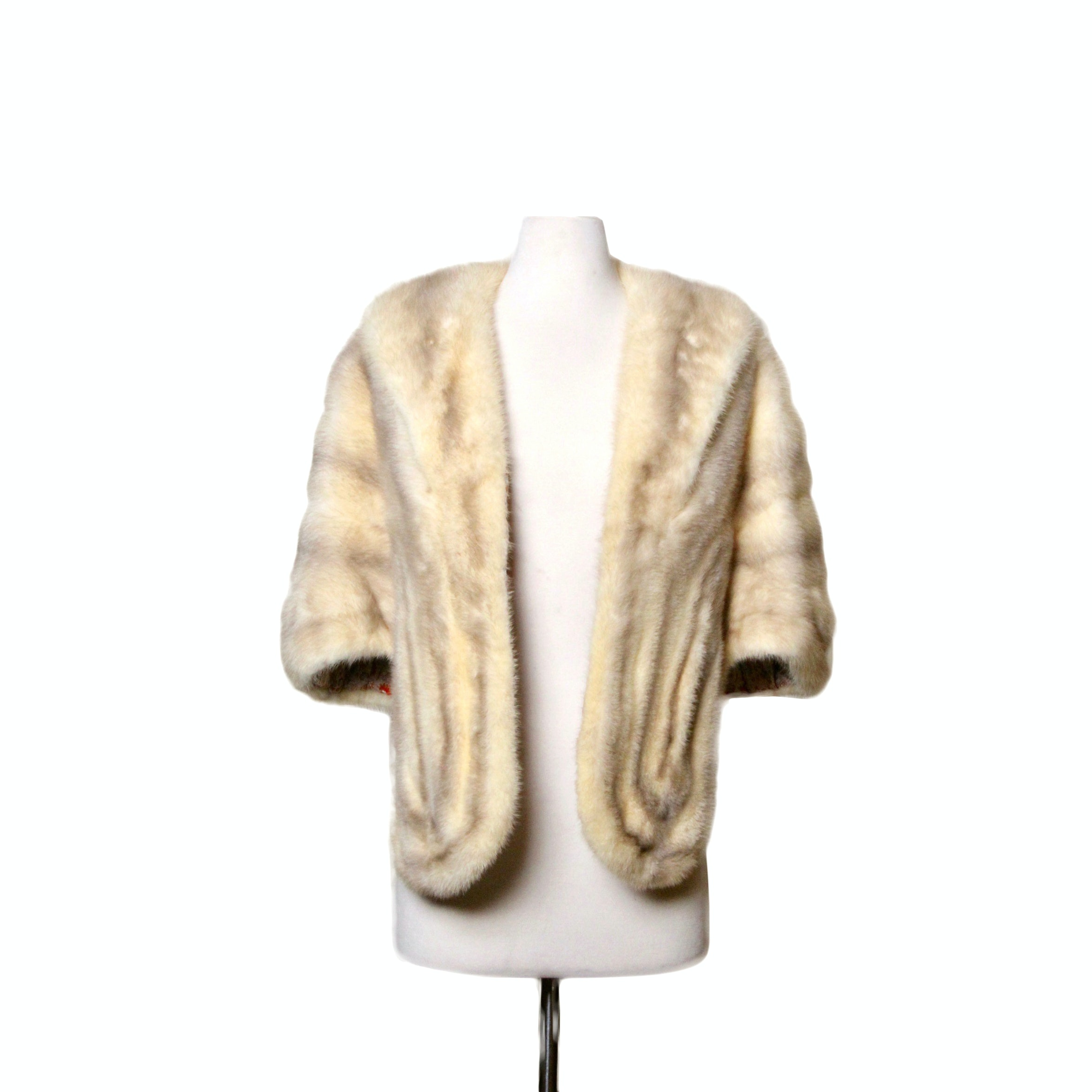 Silver-Tipped Mink Stole with Satin Lining