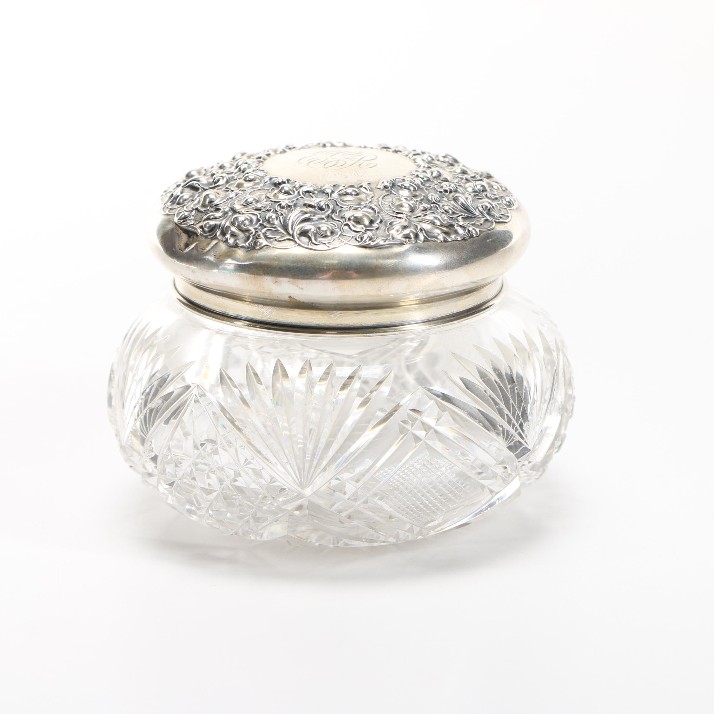 Crystal Cut Perfume Bottle With Sterling Lid