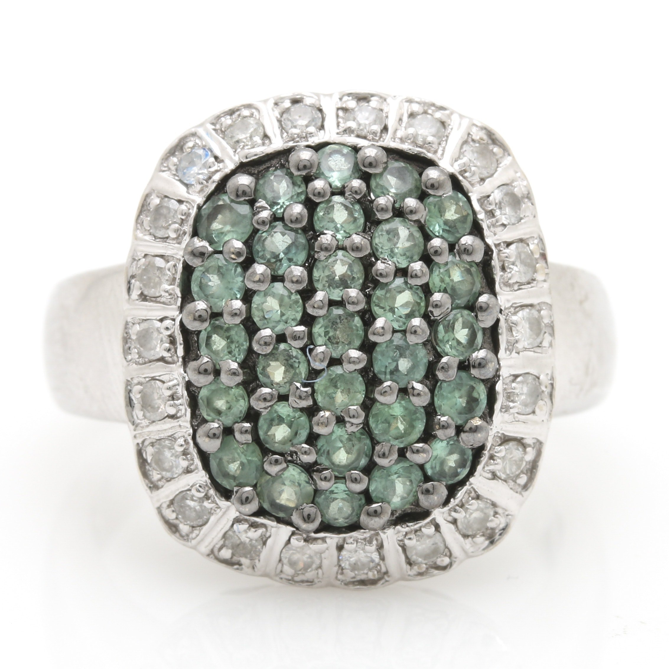 14K White Gold Synthetic Spinel Diamond Halo Ring