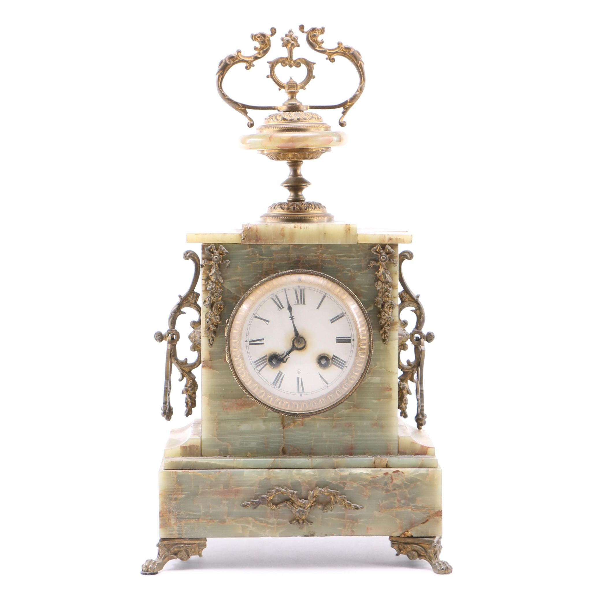 Agate and Spelter Mantel Clock