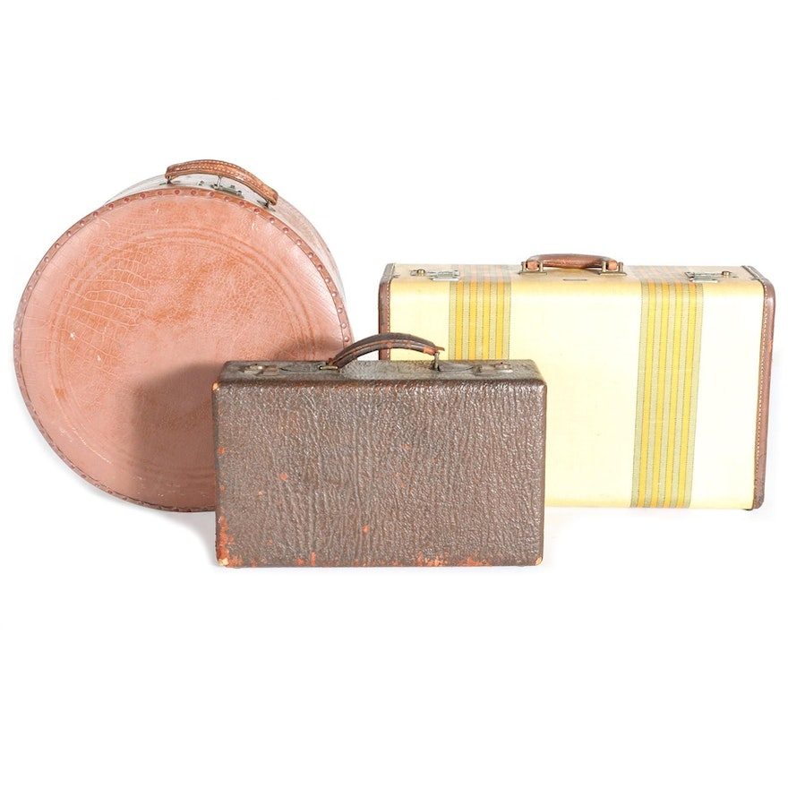 634d6b1af142 Vintage Brown and Yellow Suitcases   EBTH