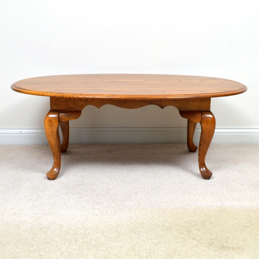 Queen Anne Style Oval Oak Coffee Table