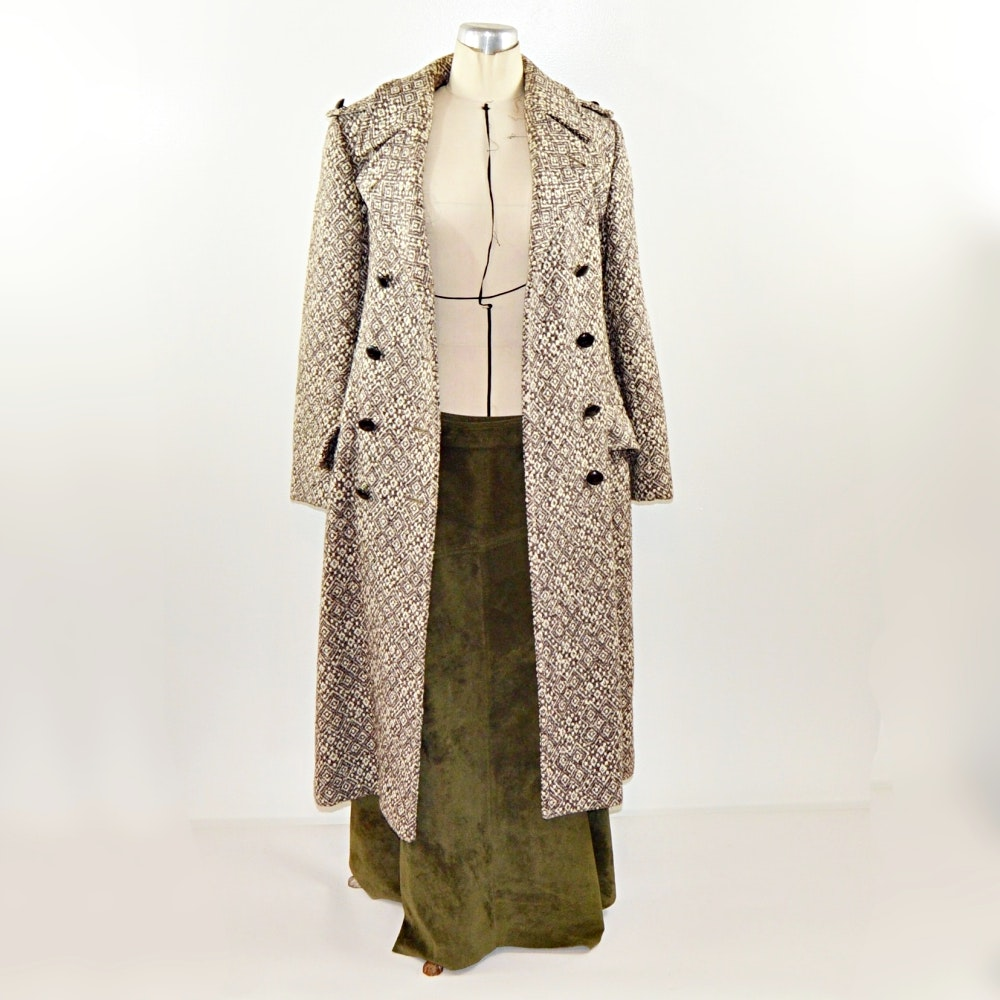 Women's Vintage Fall Coat and Skirt