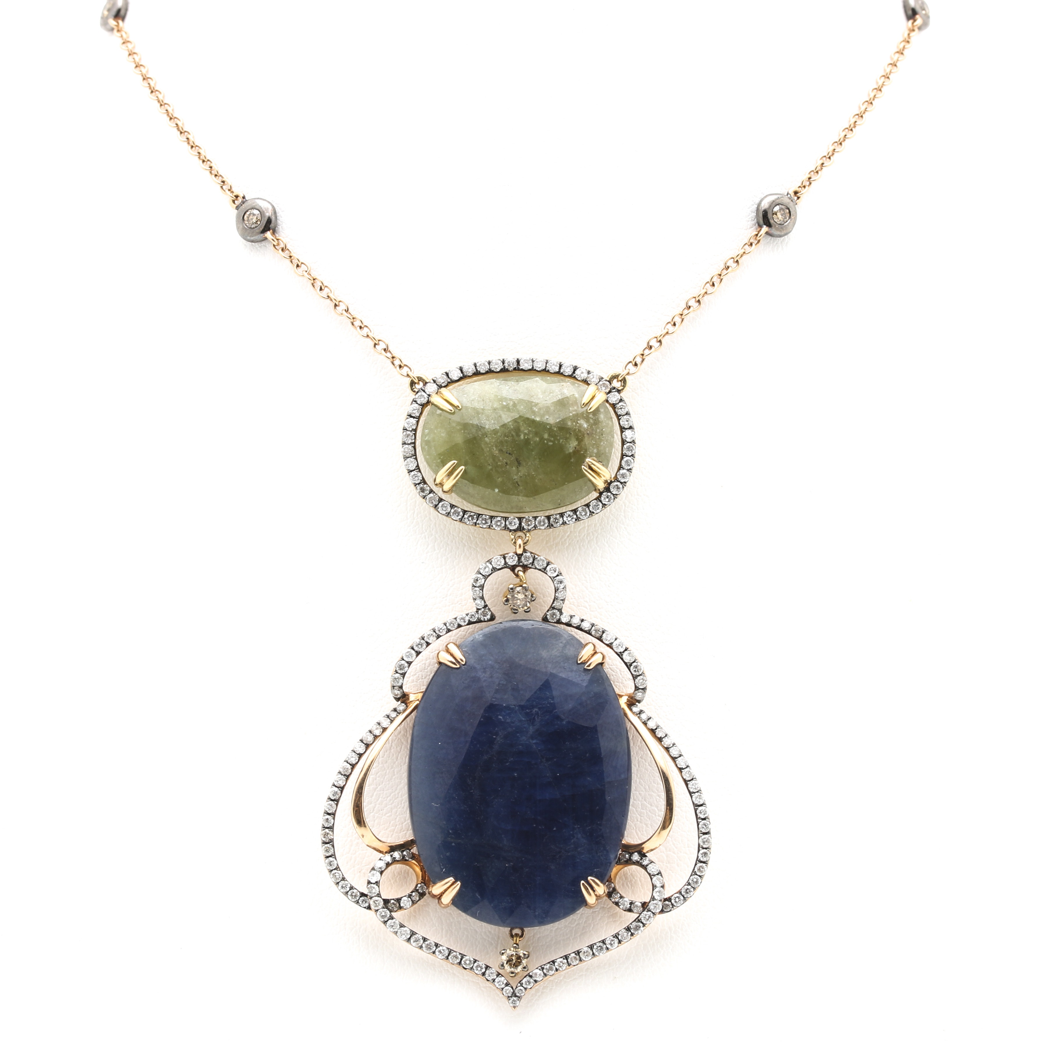 18K Yellow Gold Sapphire and Diamond Drop Pendant Station Necklace