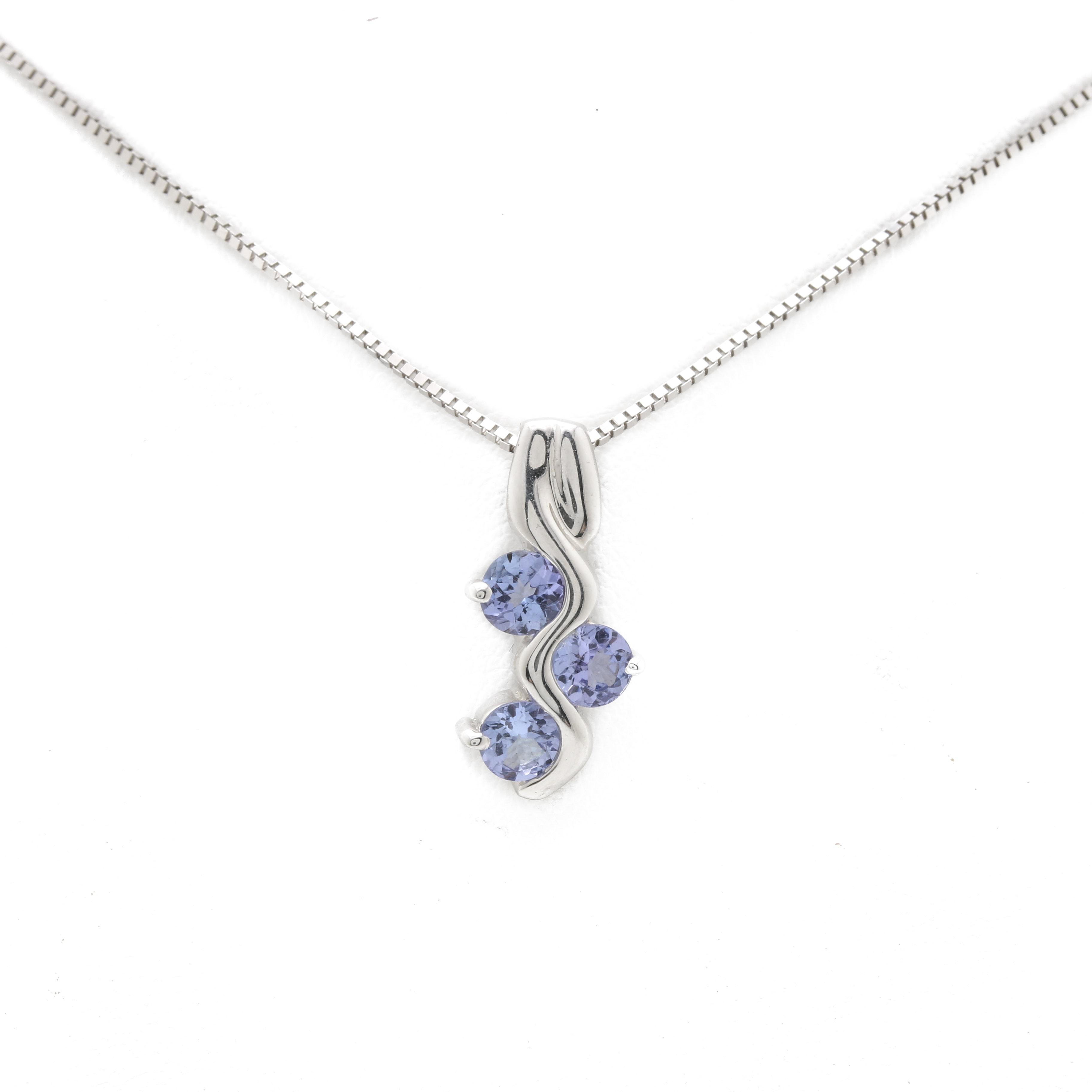 14K White Gold Tanzanite Pendant Necklace