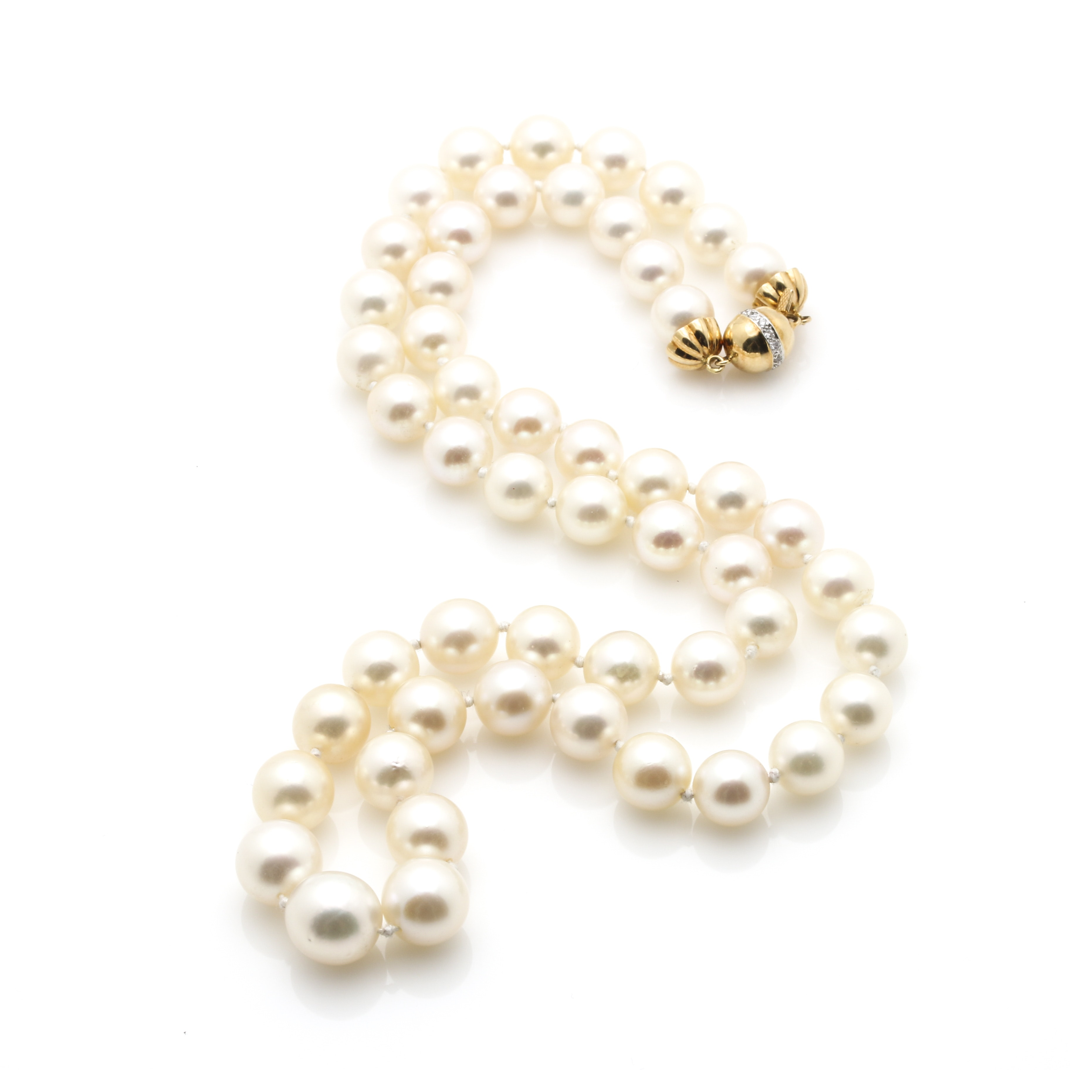 String of Pearls With 18K Yellow Gold Findings