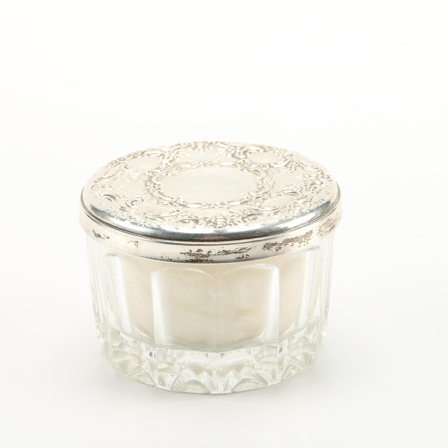 Towle Sterling Silver and Glass Powder Jar with Screen and Puff