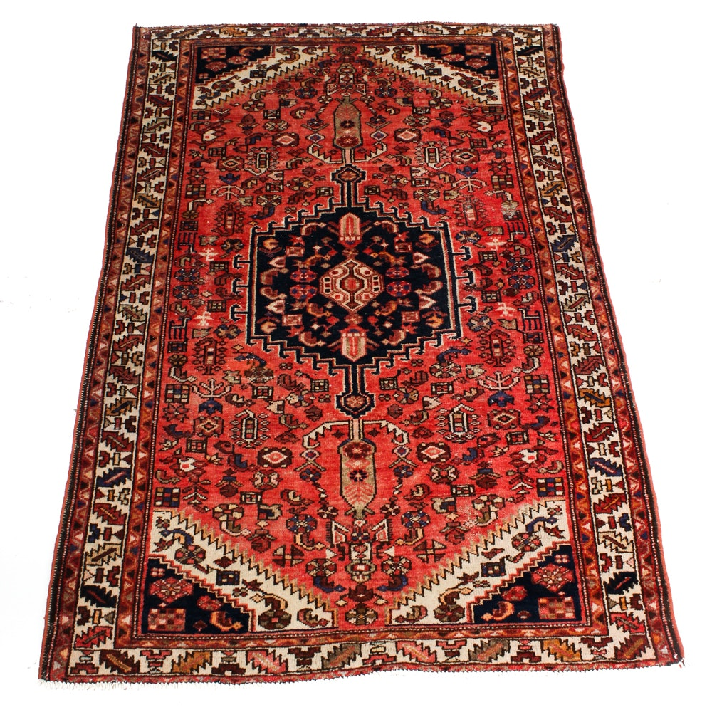 Antique Hand-Knotted Persian Zanjan Area Rug
