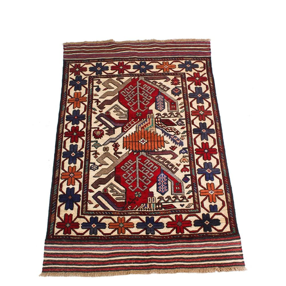 Hand-Knotted Afghani Turkoman Soumak Area Rug