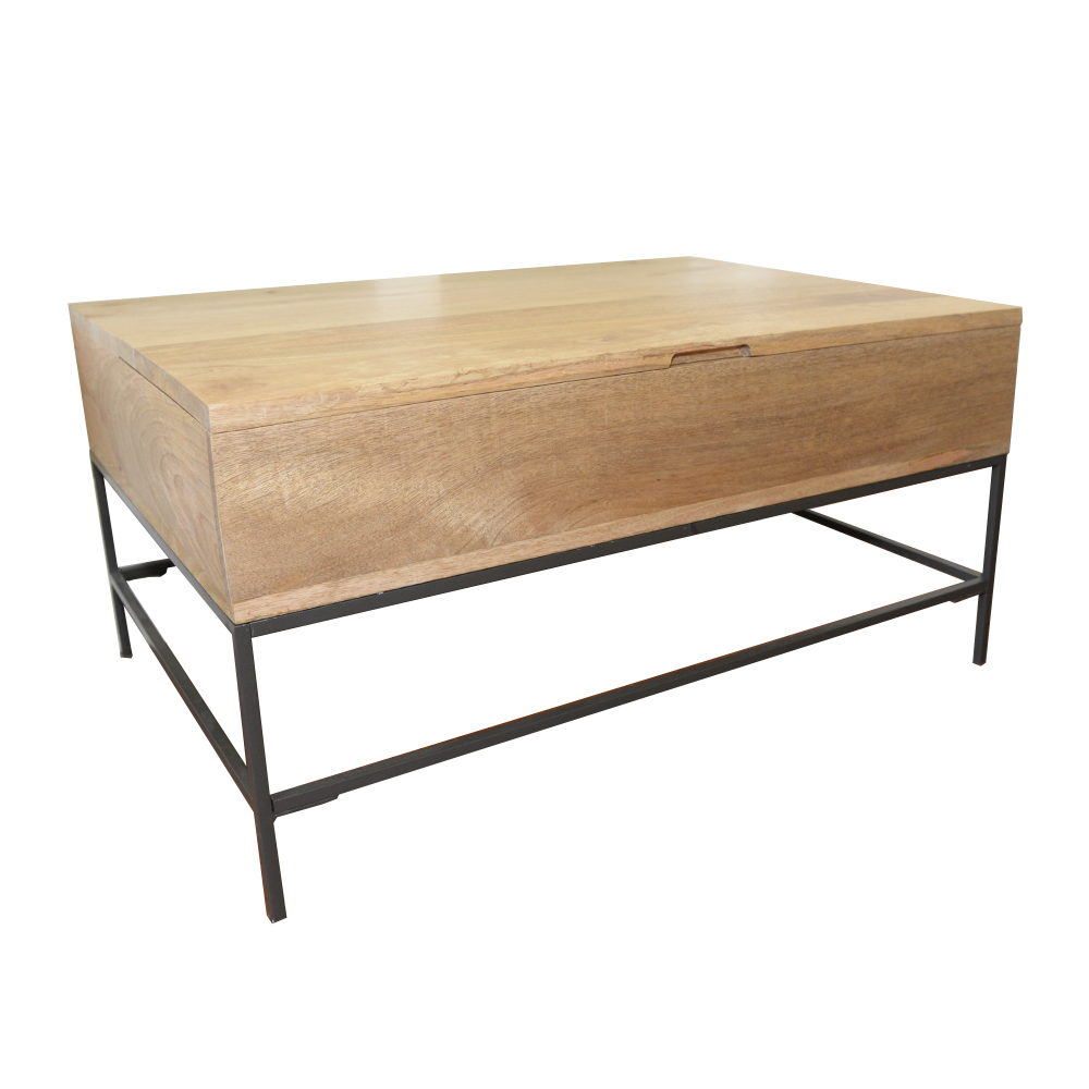 Contemporary Raw Mango Rustic Storage Coffee Table by West Elm
