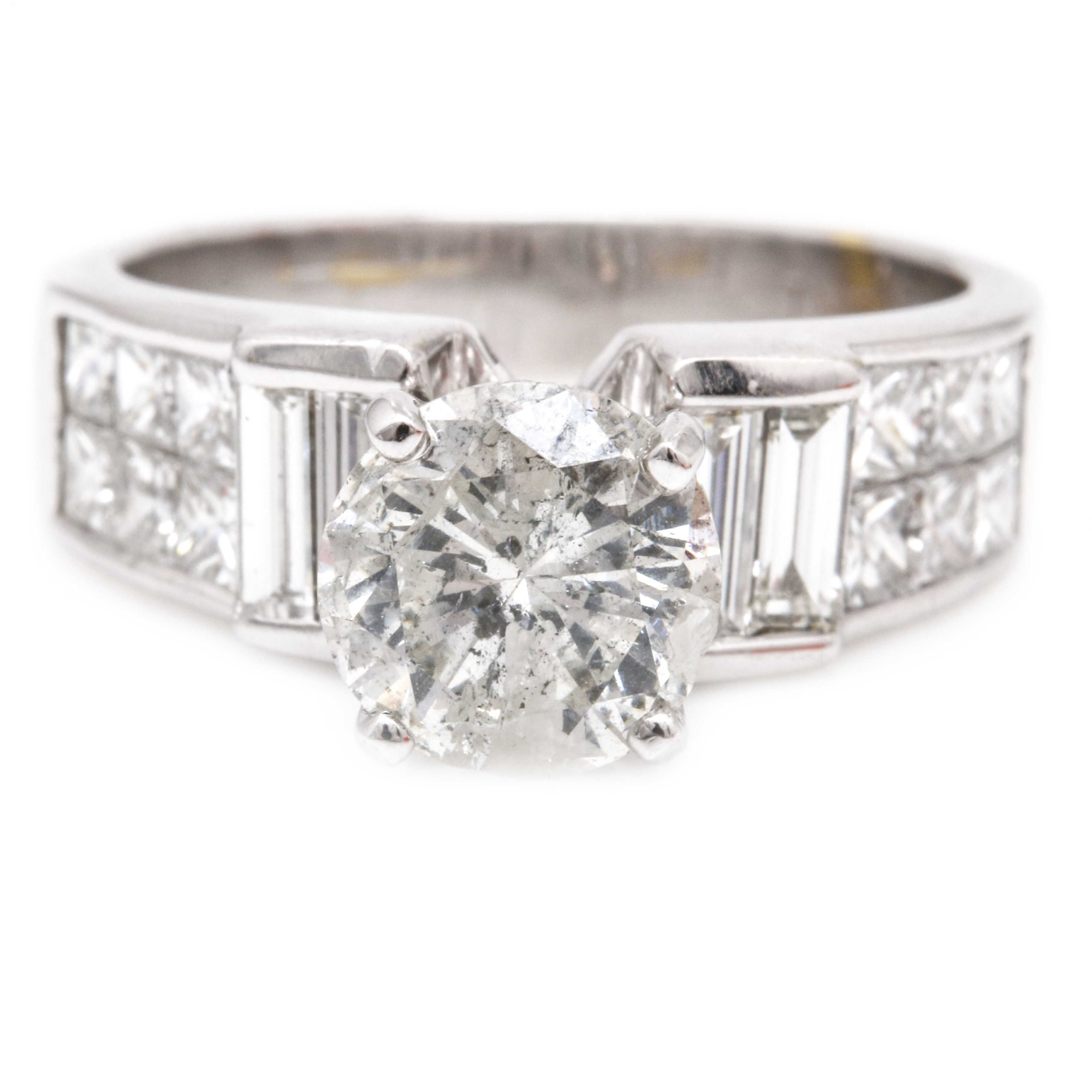 3.98 CTW 18K White Gold Diamond Ring