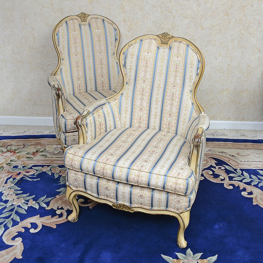 Vintage Victorian Style Armchairs With Striped Upholstery