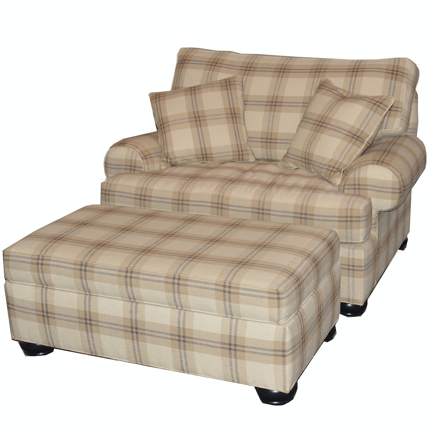 Oversize Plaid Chair And Ottoman By Ethan Allen