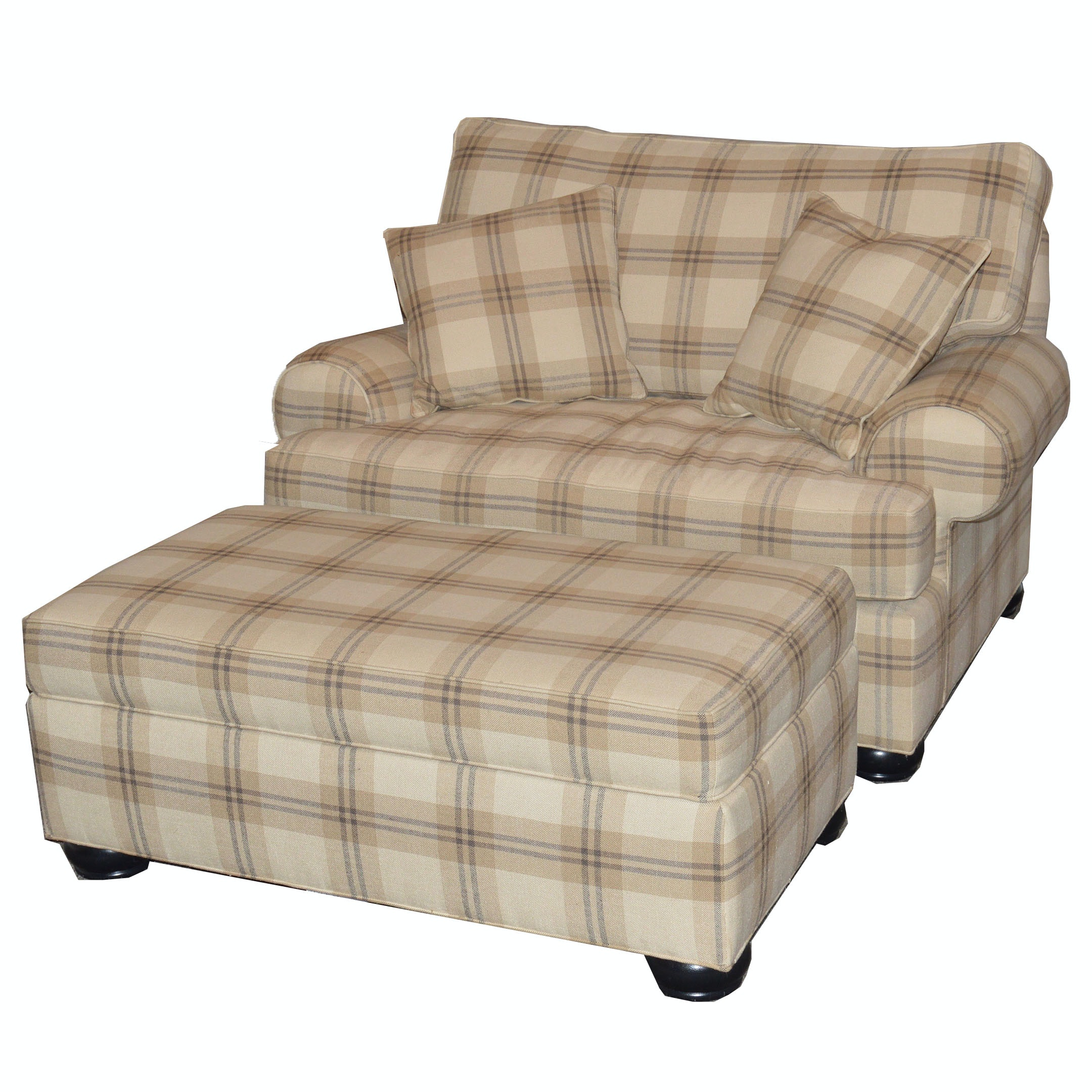 Oversize Plaid Chair And Ottoman By Ethan Allen ...