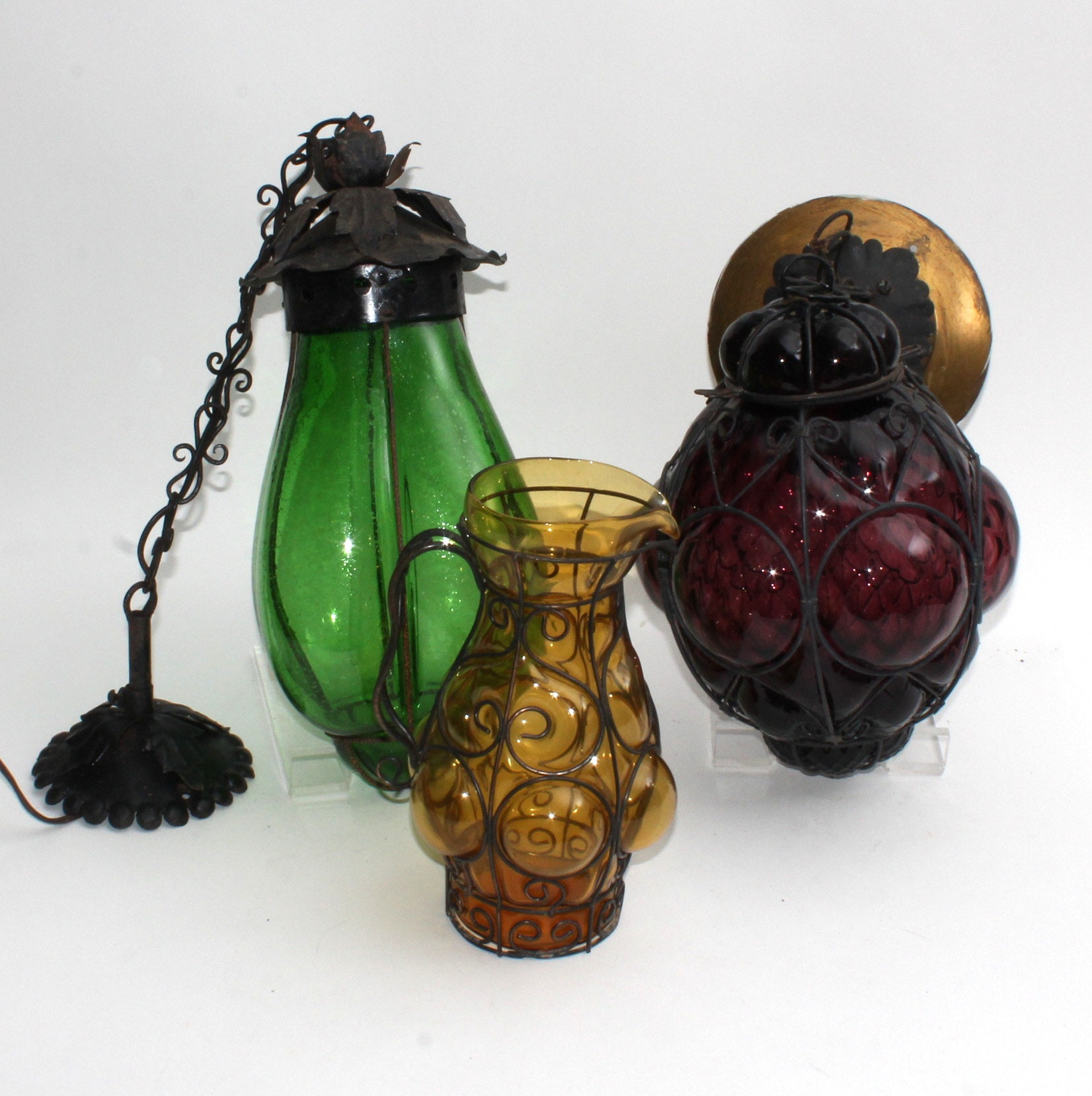 Vintage Hand-Blown Venetian Glass Hanging Lamps and Pitcher
