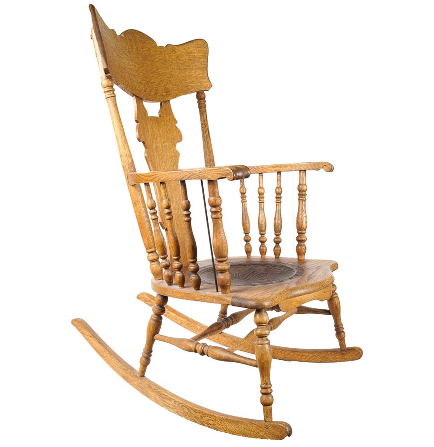 Antique Rocking Chair with Leather Seat EBTH