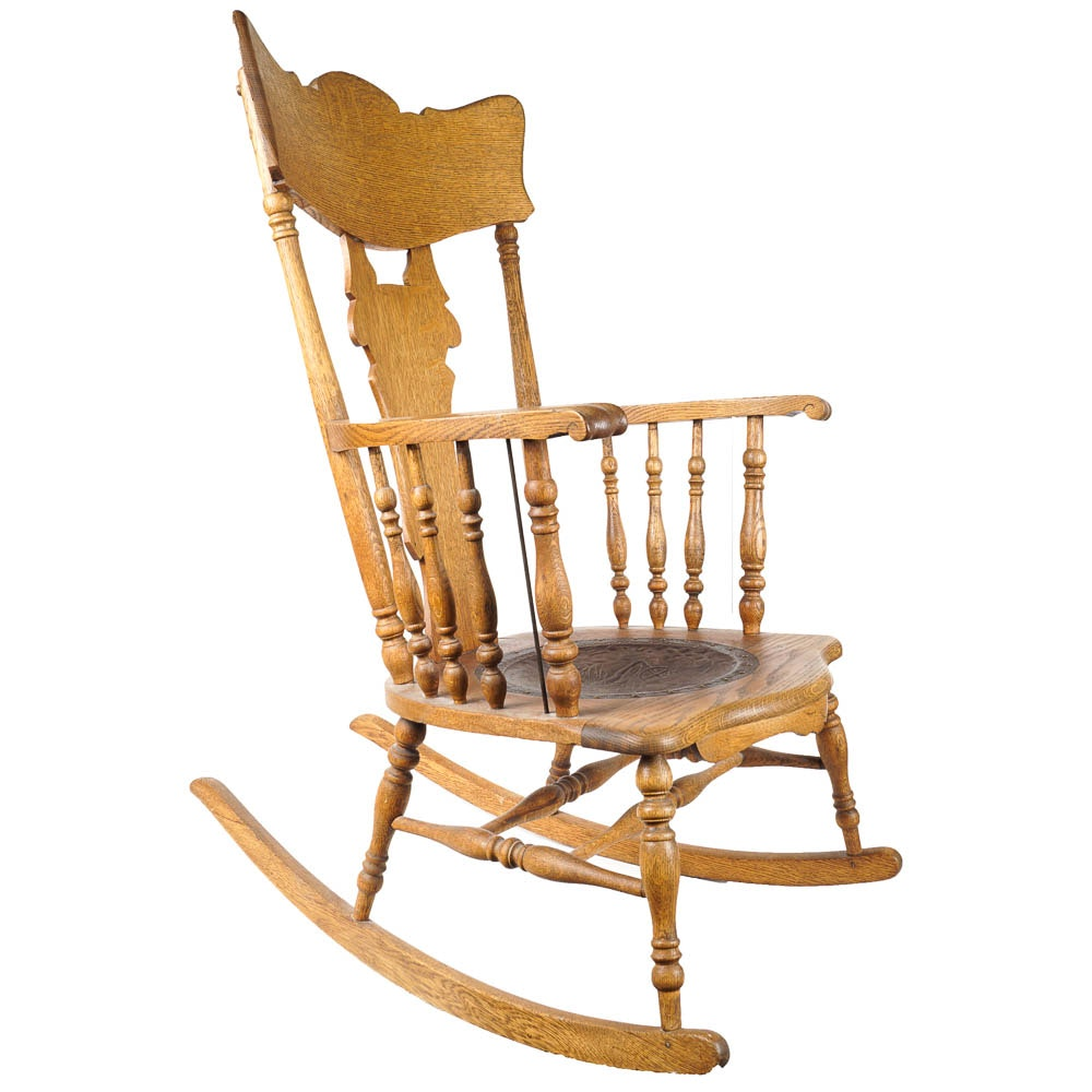 Antique Rocking Chair With Leather Seat ...
