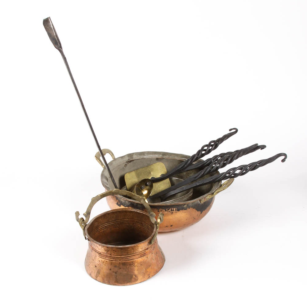 Hammered Copper and Brass Cookware and Utensils