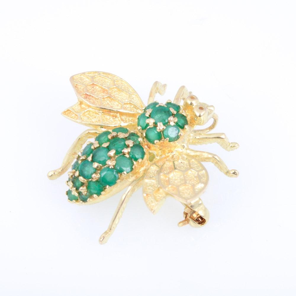 14K Yellow Gold Emerald Bee Brooch