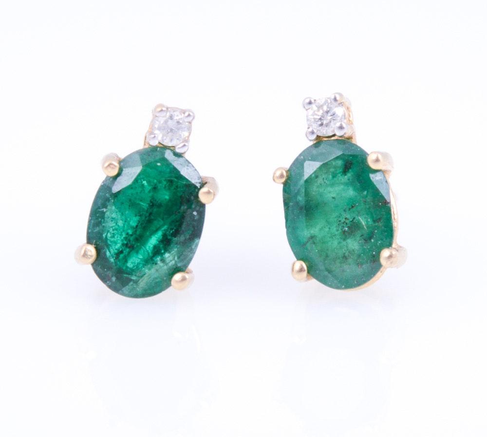 14K Yellow Gold Natural Emerald Diamond Post Earrings